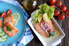 Fried salmon with vegetable Stock Photography