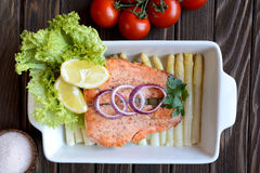 Fried salmon with vegetable Stock Images