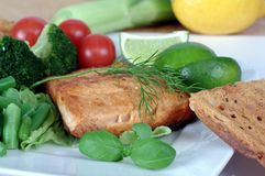 Fried salmon with vegetables Royalty Free Stock Image