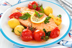 Fried Salmon  with vegetables. Royalty Free Stock Photography