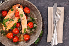 Fried salmon  with vegetables. Stock Image