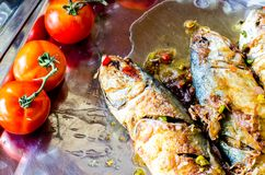 Fried salted fish and red potatos on plate Stock Photography
