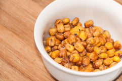 Fried salted Mexican corn in the white bowl Royalty Free Stock Photo