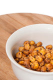Fried salted Mexican corn in the white bowl Stock Images