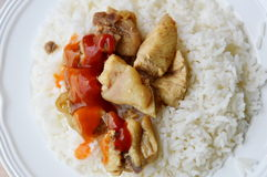 Fried salty chicken dressing ketchup and chili sauce on rice Royalty Free Stock Images