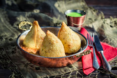 Fried samosa with dip Stock Photo