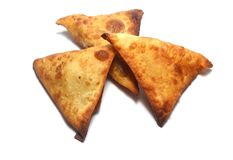 Samosa snack on white Royalty Free Stock Image