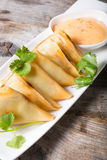 Fried samosas with sauce Stock Photos