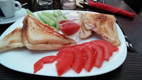 Fried Sandwich mit pastrama tost Lizenzfreies Stockbild