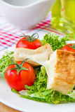 French toast with eggs and mozzarella Royalty Free Stock Image