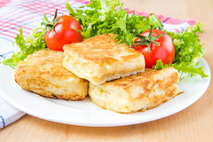 French toast with eggs and mozzarella Royalty Free Stock Photography