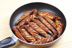 Fried sardines ,Asian style. Royalty Free Stock Photo