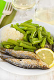 Fried sardines with beans Royalty Free Stock Image