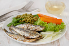Fried sardines with carrot and beans Stock Photos