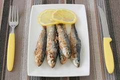 Fried sardines with lemon Royalty Free Stock Photography
