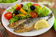 Fried sardines with salad and lemon Royalty Free Stock Photography
