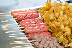 Fried sausage with bamboo stick Royalty Free Stock Image