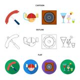 Fried sausage, beer helmet, cocktails, speaker.Pub set collection icons in cartoon,outline,flat style vector symbol. Stock illustration Stock Images