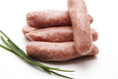 Fried sausage with chives Stock Images