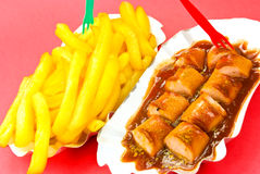 Fried Sausage ,curry,with French Fries Stock Images