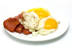 Fried sausage with eggs Stock Photos