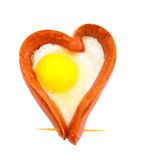 Fried sausage in the form of heart Stock Image