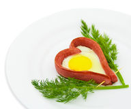 Fried sausage in the form of heart Stock Images