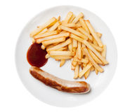 Fried sausage with fries Stock Image