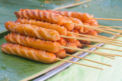 Fried Sausage (Hot Dog) Thai Style Royalty Free Stock Image