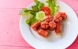 Fried Sausage (Hotdog) Royalty-vrije Stock Afbeeldingen