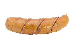 Fried sausage isolate on white background Royalty Free Stock Photos
