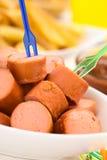 Fried Sausage Pieces Imagen de archivo libre de regalías