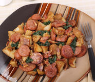 Fried Sausage and Potatoes Royalty Free Stock Photography