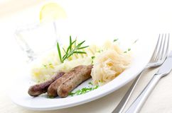 Fried sausage and sauerkraut Royalty Free Stock Photos