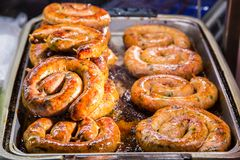 Fried sausage Stock Photography