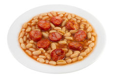 Fried sausages with beans on the plate Stock Photography