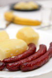 Fried sausages and boiled potatoes Stock Photo