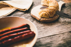 Fried sausages and bread Royalty Free Stock Image