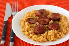Fried sausages with lentil Stock Photography