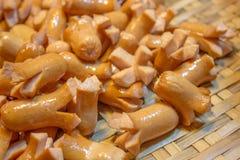 Fried Sausages profondo Fotografie Stock Libere da Diritti