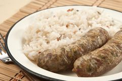 Fried sausages and rice Royalty Free Stock Photography