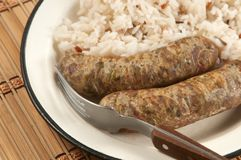 Fried sausages and rice Stock Photography