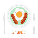 Fried sausages, scrambled egg, tasty breakfast. Cartoon flat style. Royalty Free Stock Photography