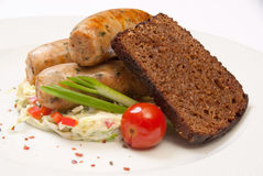 Fried sausages Royalty Free Stock Images