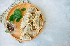 Fried Savory Pasties - Hand Pies With Spinach On A White Background. Top View And Copy Space. Stock Photos