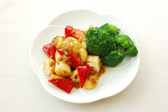 Fried scallop with X.O sauce. Chinese cuisine. yumcha, chinese food Royalty Free Stock Photos