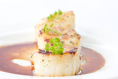 Fried scallops Royalty Free Stock Images