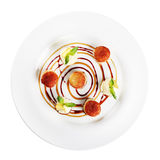 Fried scallops on plate (white background). Fried scallops on a plate on white background Royalty Free Stock Images