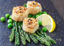 Fried scallops with sesame seeds, asparagus, lemon and green peas. On a black plate. Selective focus Royalty Free Stock Image