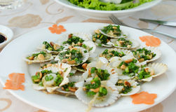 Fried scallops Royalty Free Stock Image